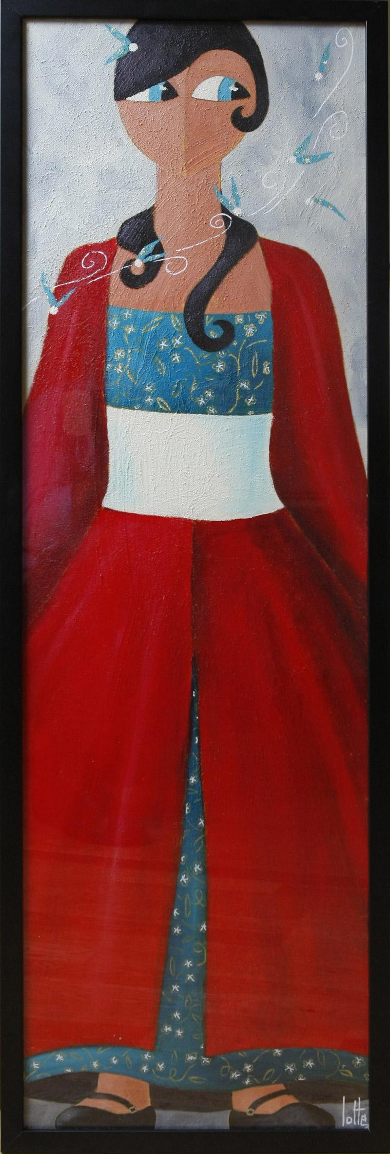 Anne charlotte lotte portrait de femme la robe rouge 1 for Maison de la mode puteaux